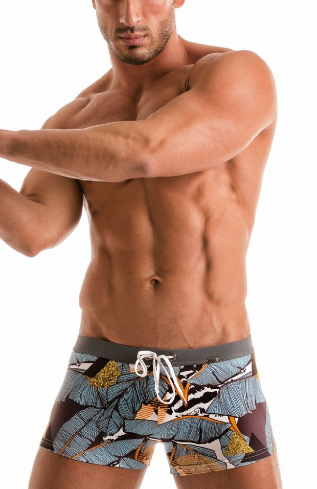 Geronimo Mens Grey  Swimwear Boxer Trunks 1906b1